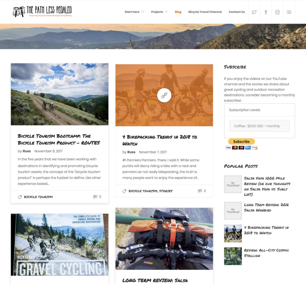 Path Less Pedaled - website travel blog design